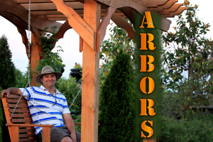 Quigleys Landscaping Owner Dalton Quigley on an Arbor in Franklin Tn.