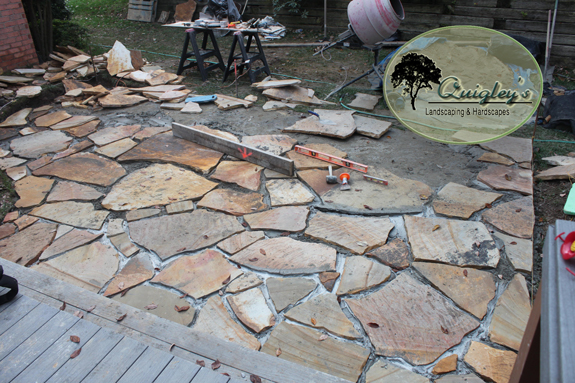 We Are Grouting The Flagstone In This Image For A Patio Made Bwood Tennessee
