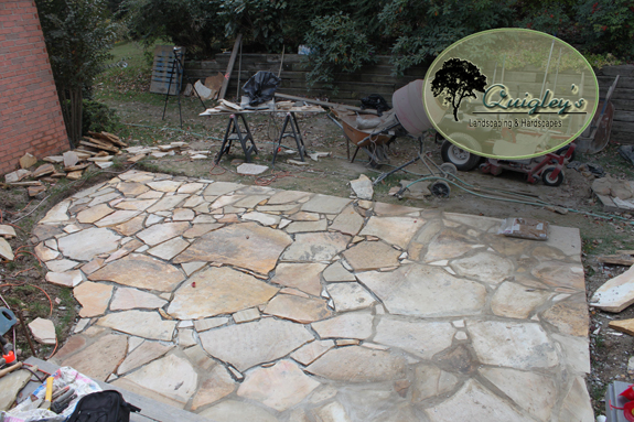 This image shows the patio near completion we built in Brentwood Tennessee.
