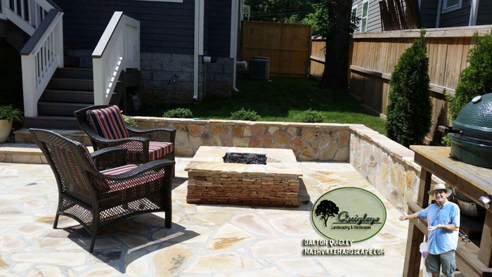 Nashville Back yard square fire pit